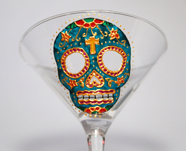 Hand-painted sugar skull martini glass