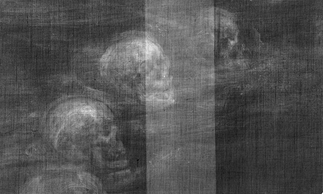 X-ray image reveals human skulls hidden in a painting of John Dee