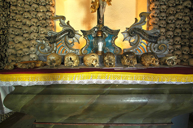 Skulls on the altar of the Czermna chapel