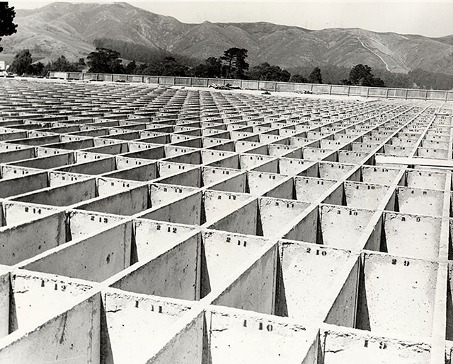 New vaults in Colma await bodies exhumed from Calvary Cemetery in San Francisco c.1920
