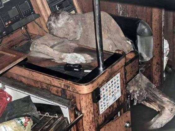Mummified remains found on a boat at sea