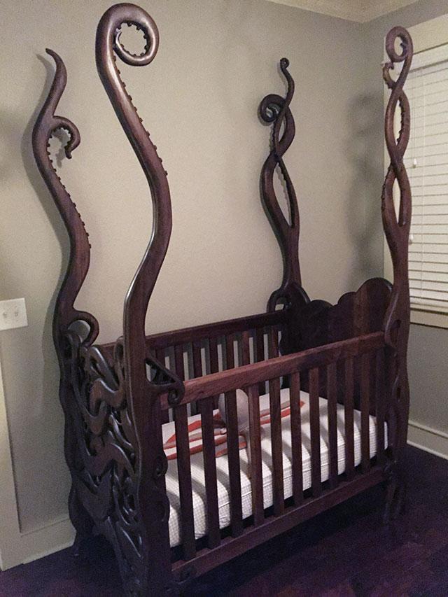 Eldritch crib hand-carved by Atlanta artist Garrick Andrus