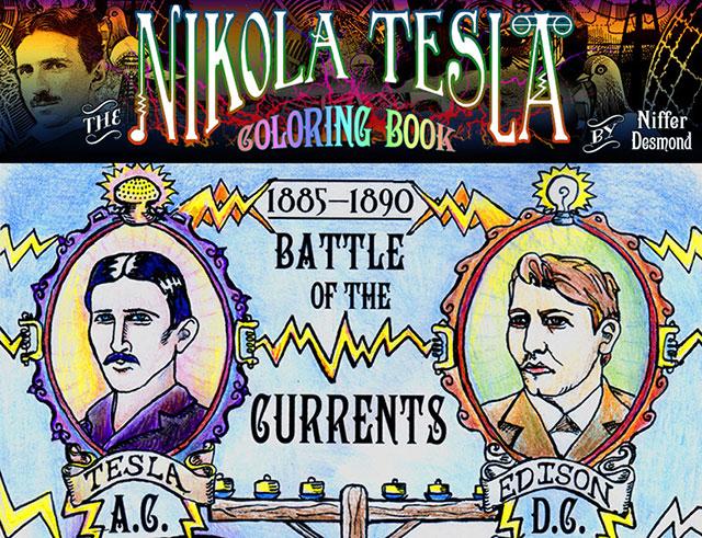Nikola Tesla educational coloring book by Niffer Desmond