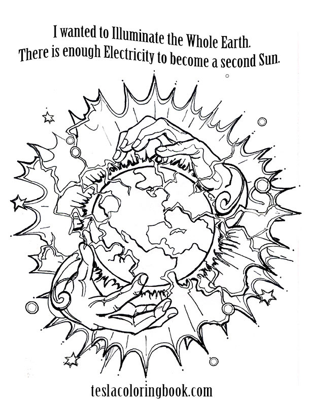 A page from the Nikola Tesla coloring book