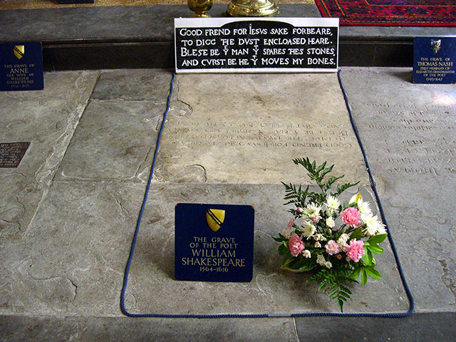 The grave of William Shakespeare