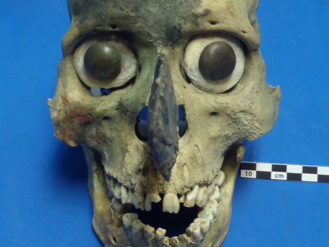Aztec skull mask found at Templo Mayer in Tenochtitlan, Mexico