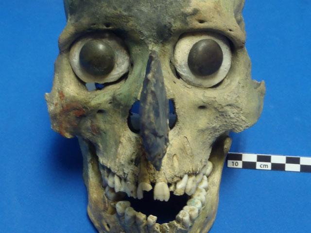 Aztec skull mask found at Templo Mayer in Tenochtitlan, Mexico