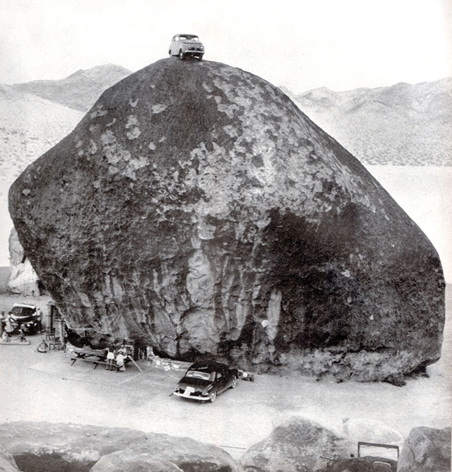 A car parked on the top of Giant Rock