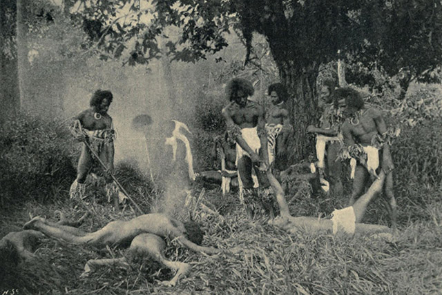 Vintage photo of cannibalism in Fiji