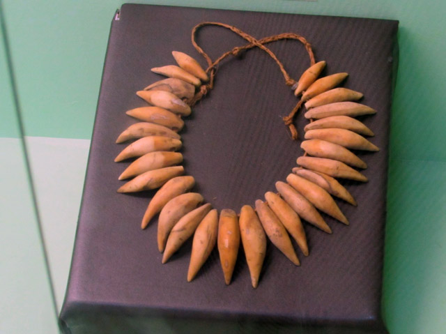 Necklace of polished sperm whale teeth