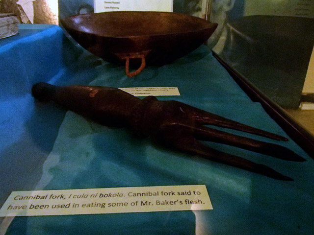 Cannibal fork used to eat Reverend Thomas Baker, on display at the Fiji Museum in Suva