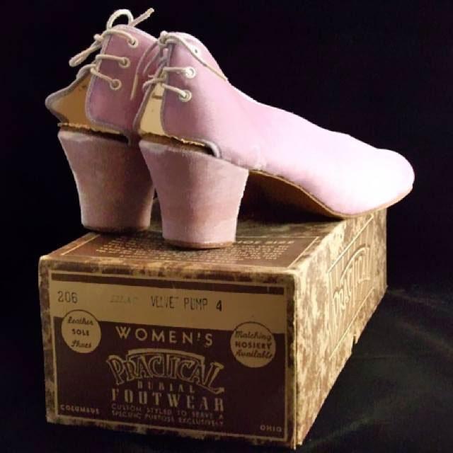 Vintage pair of women's practical burial shoes