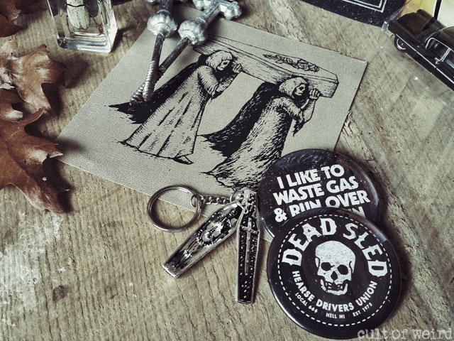 Dead Sled Brand buttons and patches from Poison Apple Printshop