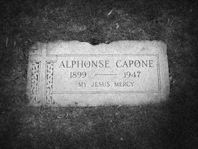 The grave of Al Capone in Mount Carmel Cemetery, Hillside, IL