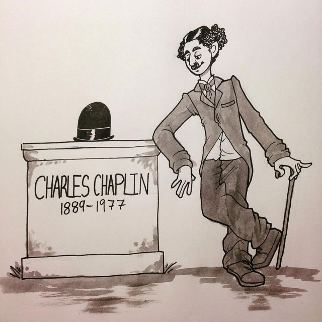 Charlie Chaplin and his grave