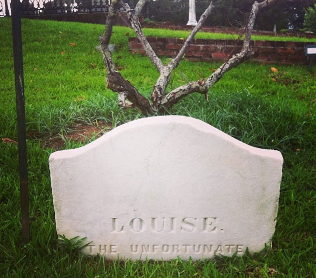 The grave of Louise the Unfortunate in Natchez, Mississippi