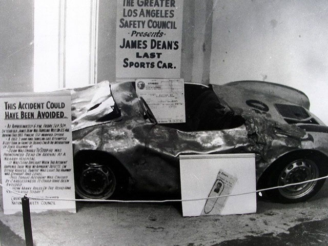 The wreackage of James Dean's car on display after his death