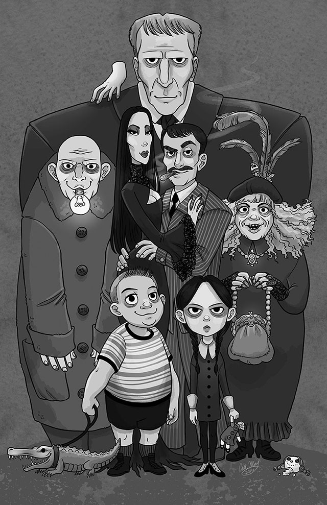 Addams Family print by artist Cait May