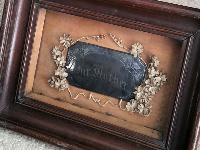 Antique Victorian era coffin plaque in frame