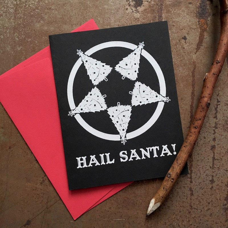 Hail Santa greeting card from Poison Apple Printshop