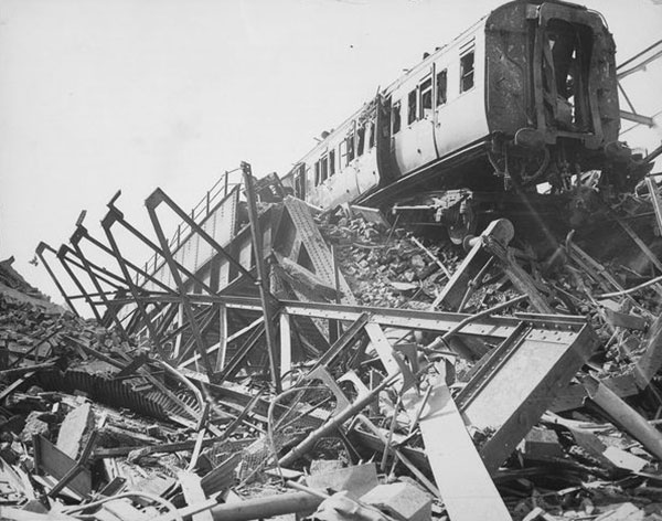 London Necropolis Railway in ruins after the Blitz in 1941