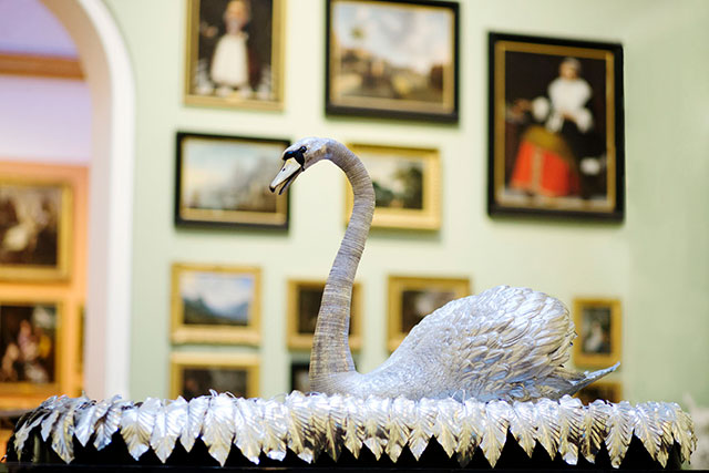 Silver Swan automaton on display at The Bowes Museum