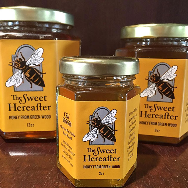 Jars of The Sweet Hereafter honey from Green-Wood Cemetery