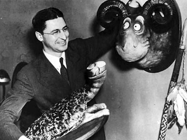 Dr. Seuss with his Collection of Unorthodox Taxidermy