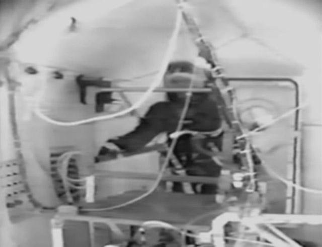 Jim LeBlanc inside the vacuum chamber