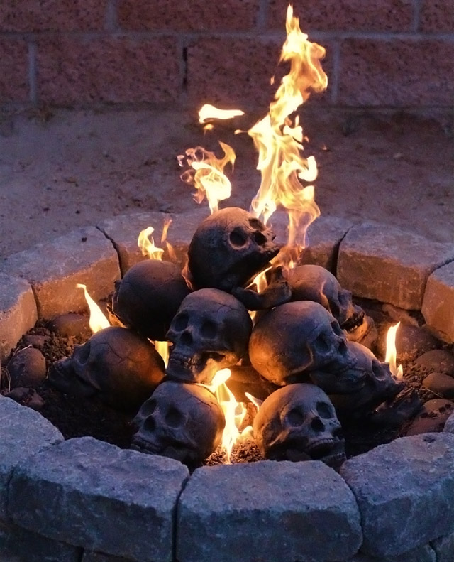 Skull fireplace logs