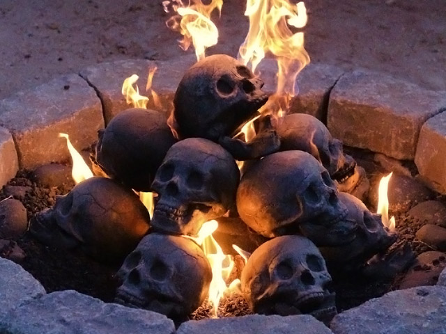 Skull fireplace logs