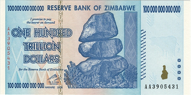 Zimbabwe $100 trillion dollar bill