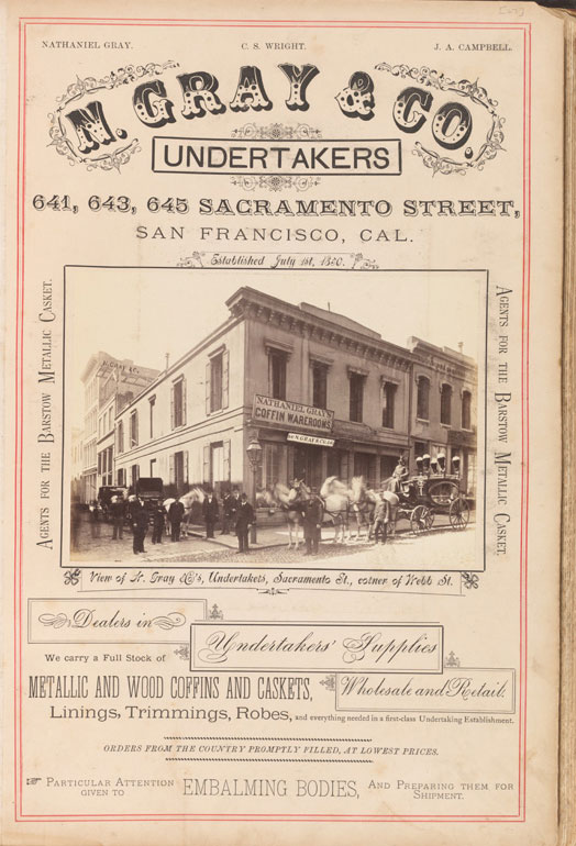 N. Gray & Co. Undertakers San Francisco vintage advertisement