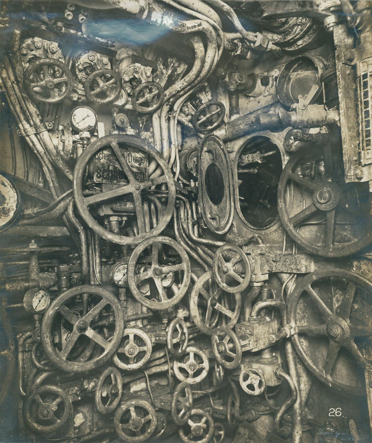 Control room of the UB-110 German submarine, 1918