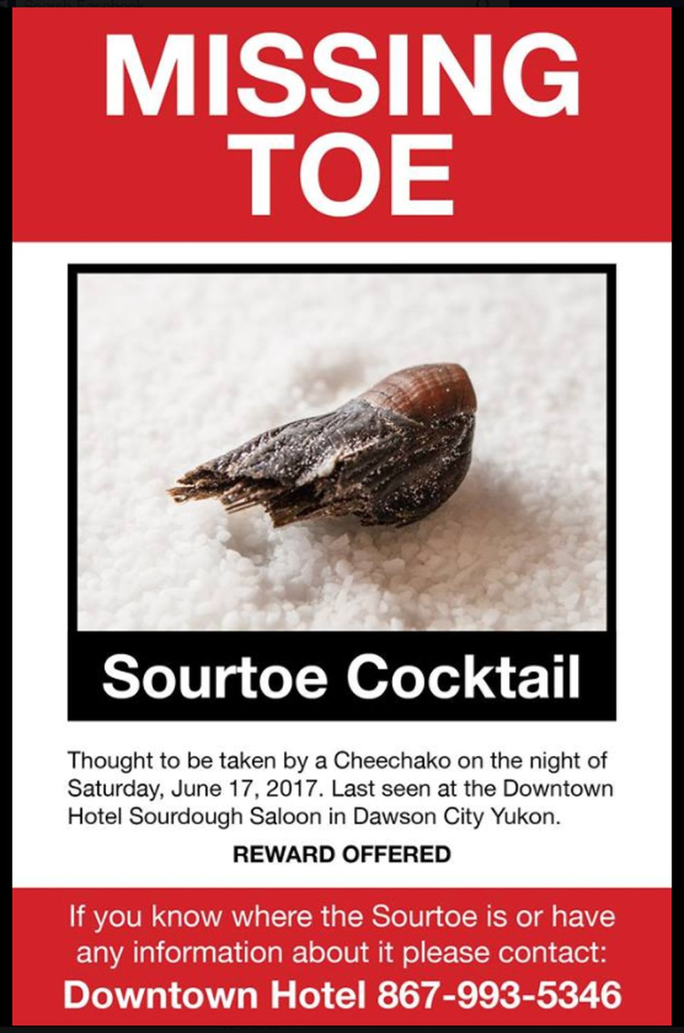 Missing toe poster