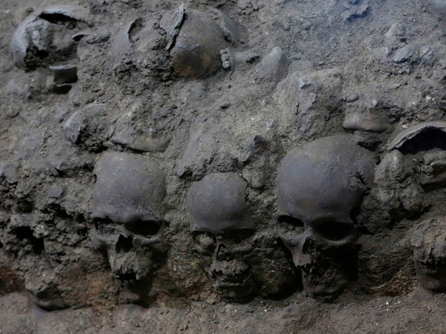 Aztec tower of skulls found in Mexico City