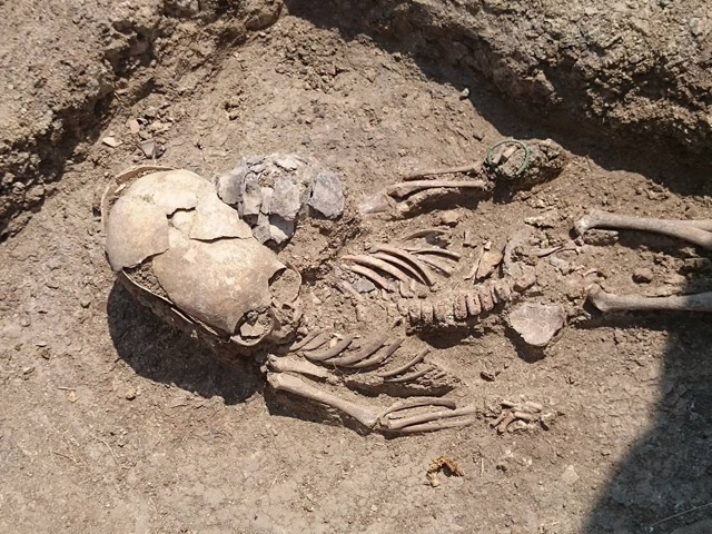 Skeleton of child with elongated skull found in Crimea