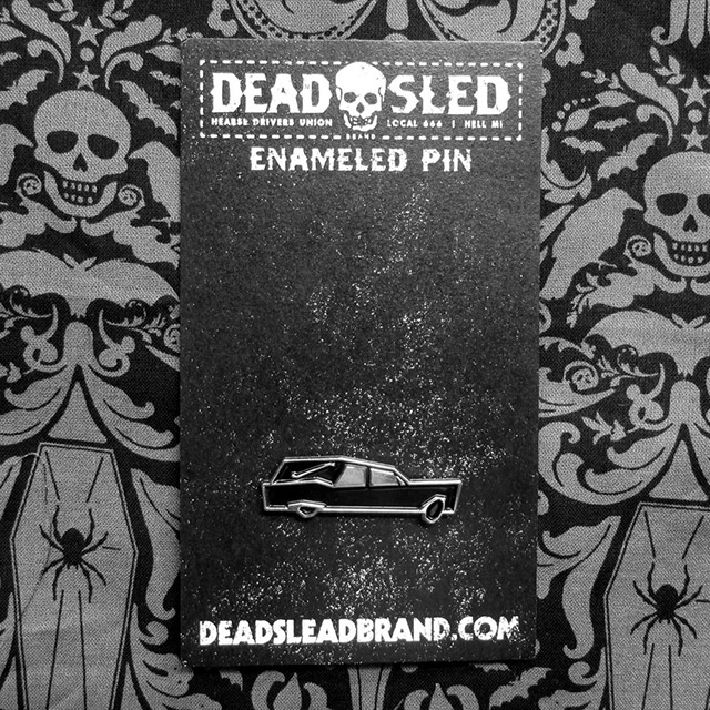 Hearse enamel pin from Dead Sled Brand