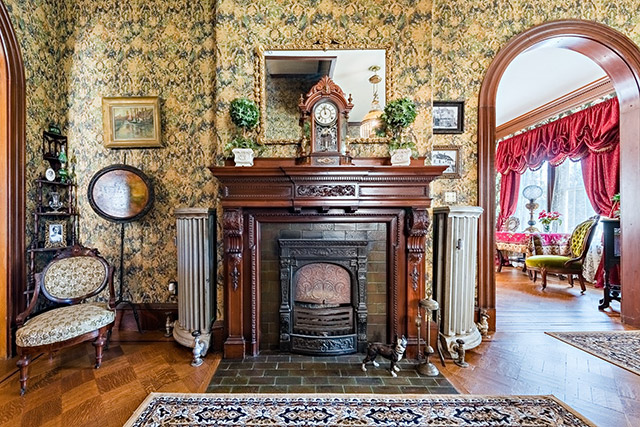 One of Maplecroft's six fireplaces