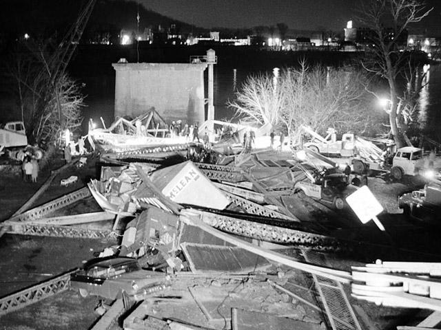 Silver Bridge collapse in Point Pleasant, West Virginia