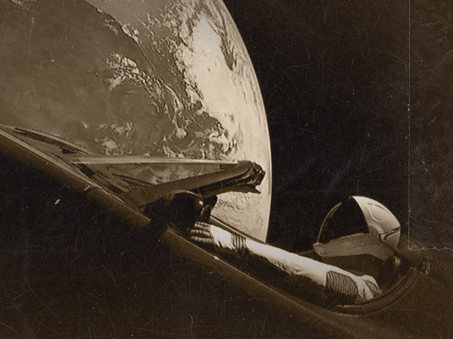 Starman drives his Tesla Roadster through space