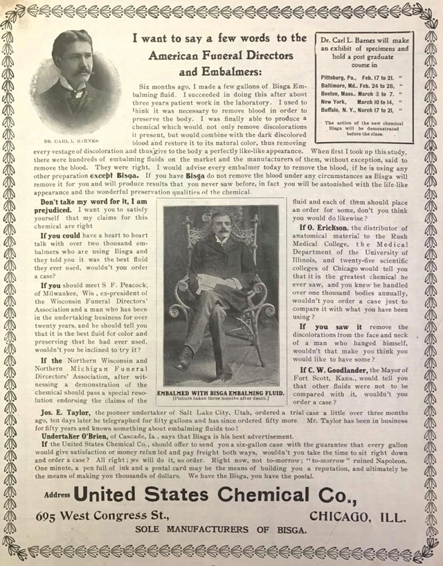 1903 advertisement for Bigsa embalming fluid