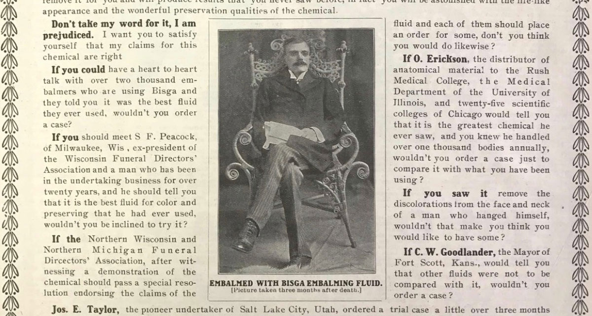 Dapper Corpse Used to Sell Embalming Fluid in 1903 Advertisement