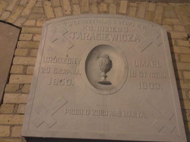 The marble marker of Rev. Idziego Tarasiewicza