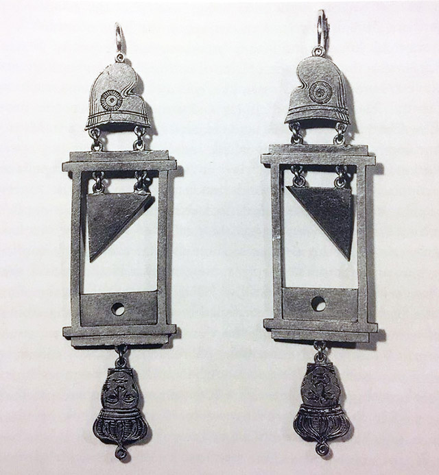 Guillotine earrings from France's Reign of Terror c.1793