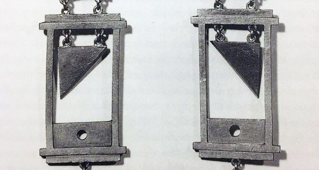 Guillotine earrings from the Reign of Terror in France