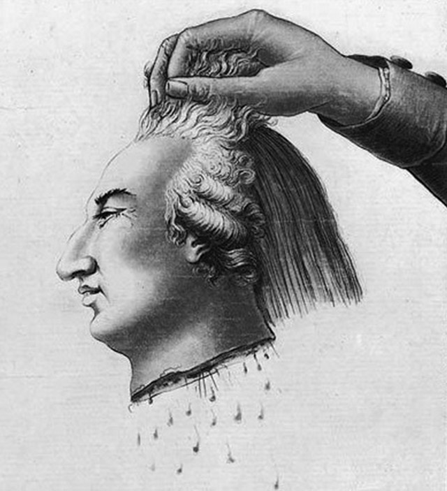 Illustraion of Louis XVI's severed head