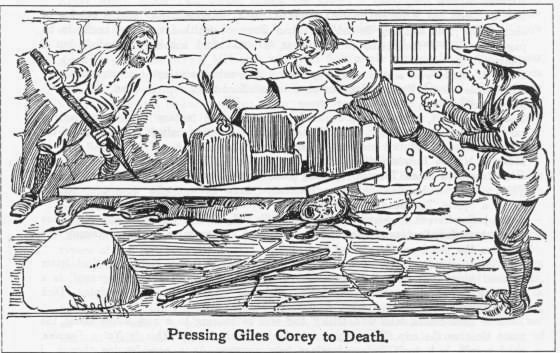 Illustration depicting Giles Corey being pressed to death during the Salem Witch Trials