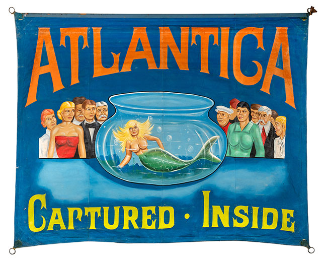 Atlantica banner for a Girl in Fishbowl sideshow illusion