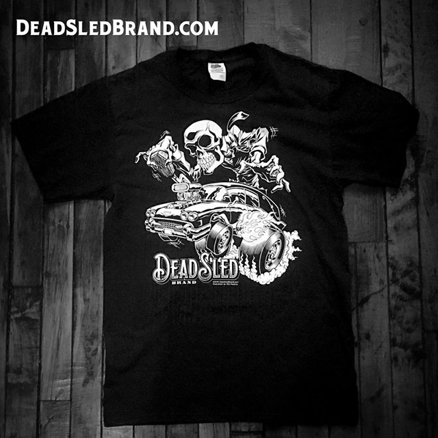 Hot rod hearse t-shirt from Dead Sled Brand
